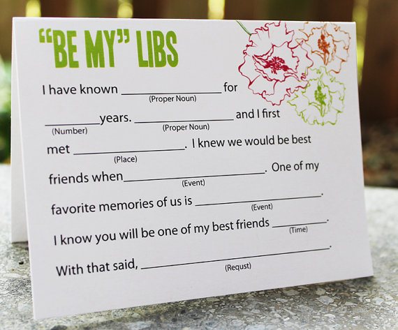 be my bridesmaid libs (be my bridesmaid card)