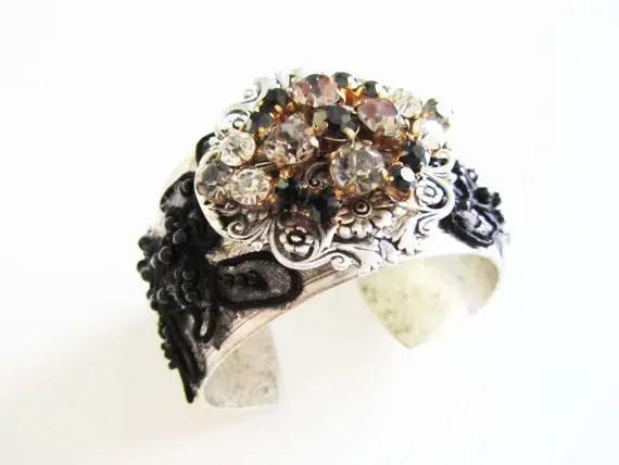 black and white bridal cuff bracelet