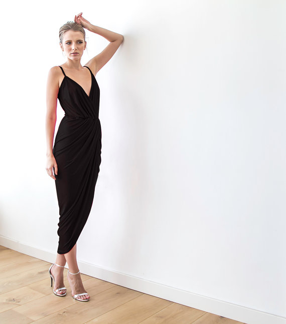 Black Bridesmaid Maxi Dress | via Bridesmaid Maxi Dresses http://emmalinebride.com/bridesmaids/bridesmaid-maxi-dresses/
