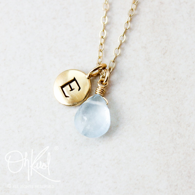 Aquamarine initial necklace, perfect for gifting to bridesmaids! | via Best Aquamarine Jewelry http://emmalinebriide.com/bride/best-aquamarine-jewelry/