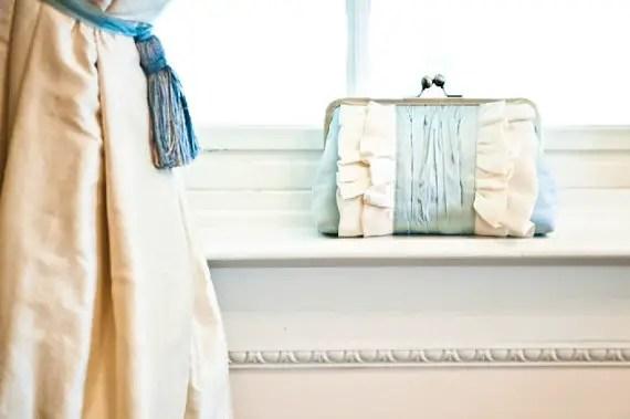 blue clutch purse