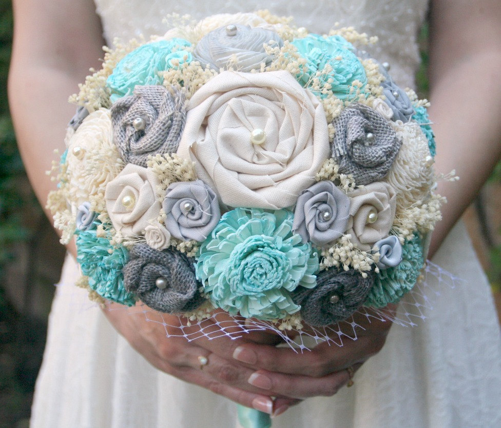 blue ivory bouquet