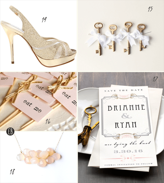 blush and gold wedding inspiration - three