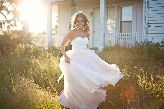 blush chiffon wedding dress