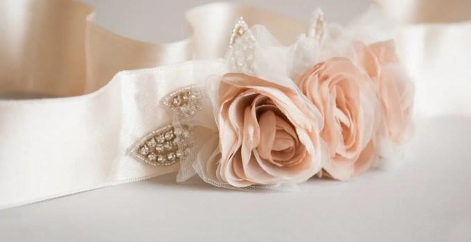 blush wedding dress sash
