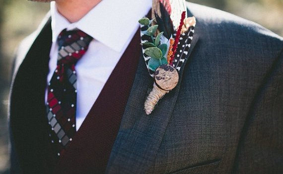 feather boutonnieres | via What Kind of Boutonniere to Pick (and Why) http://emmalinebride.com/groom/what-kind-of-boutonniere/