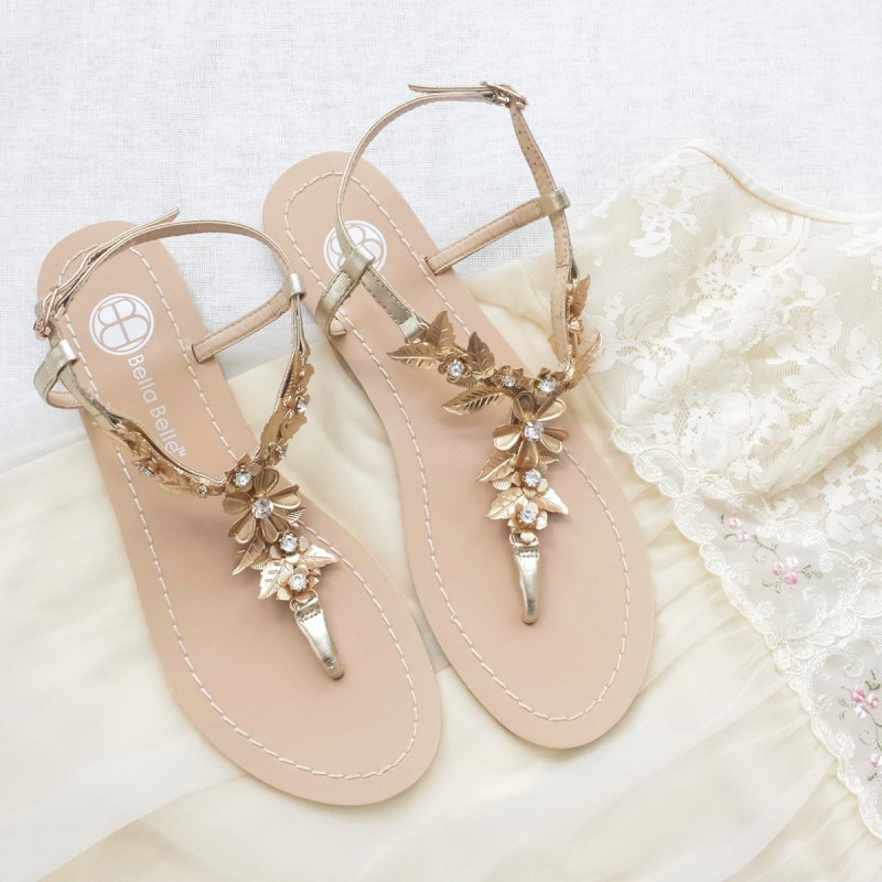 bohemian gold wedding sandals | via 31 Best Handmade Wedding Shoes http://emmalinebride.com/bride/handmade-wedding-shoes/