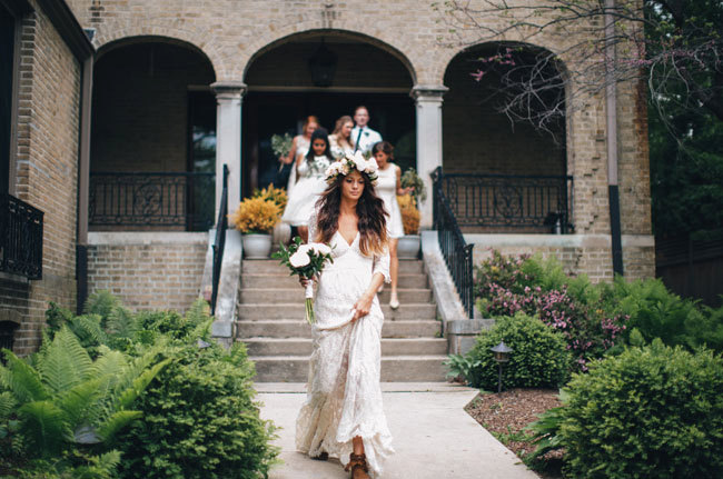 Beautiful bohemian inspired wedding gown made of lace | gown: be my bride | photo: jessica stoe | etsy boho weddings | http://emmalinebride.com/bohemian/etsy-boho-weddings/
