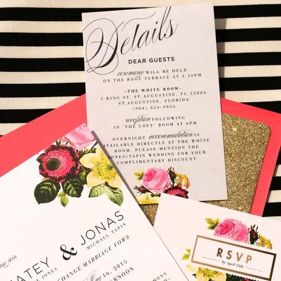 Vintage Rose Wedding Invitation Suite