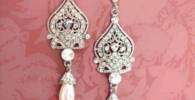 bridal chandelier earrings with pearls 1920s style