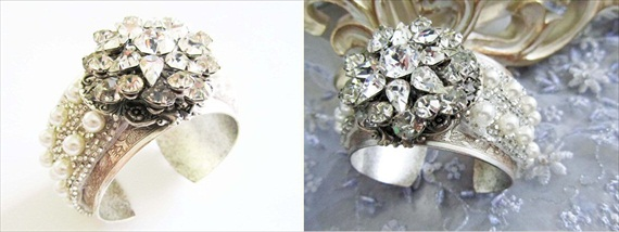 Rhinestone Bridal Cuff (by CloeNoelDesigns.com via EmmalineBride.com) #handmade #wedding #jewelry