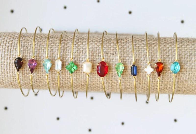 bridesmaid birthstone bracelet   http://emmalinebride.com/gifts/bridesmaid-bangle-bracelets/
