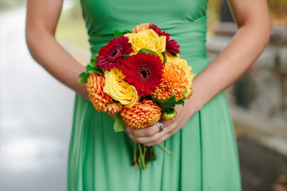 DIY Fall Wedding - Photo by Noelle Ann Photography - #bridesmaid holding #fall #wedding #bouquet