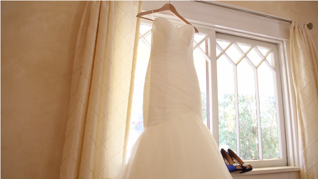 brides wedding dress and shoes for her Sova Gardens wedding film