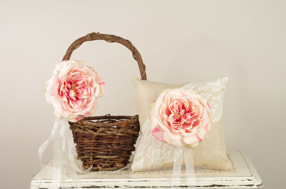 burlap ring pillow and rustic flower girl basket set with pink flower