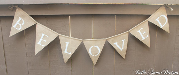 Burlap Wedding Banners - beloved