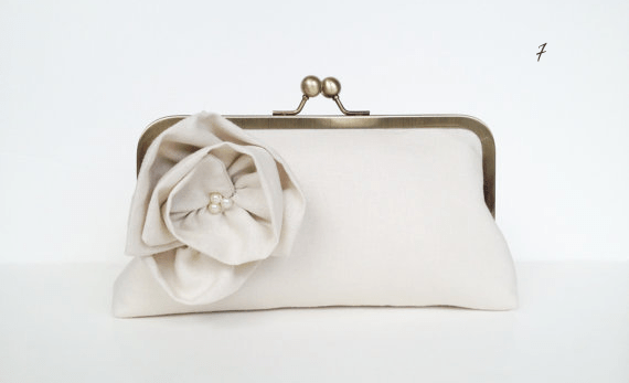 classic wedding clutches by theme - white bloom clutch purse