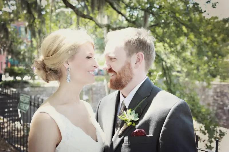 Bride and groom smiling | Photographer: Melissa Prosser Photography | via http://emmalinebride.com/real-weddings/colleen-ryans-lovely-savannah-wedding-at-the-mansion-on-forsyth-park