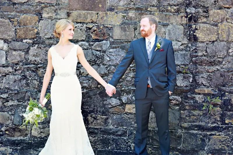 Bride and Groom Holding Hands | Photo: Melissa Prosser Photographer | http://emmalinebride.com/real-weddings/colleen-ryans-lovely-savannah-wedding-at-the-mansion-on-forsyth-park/