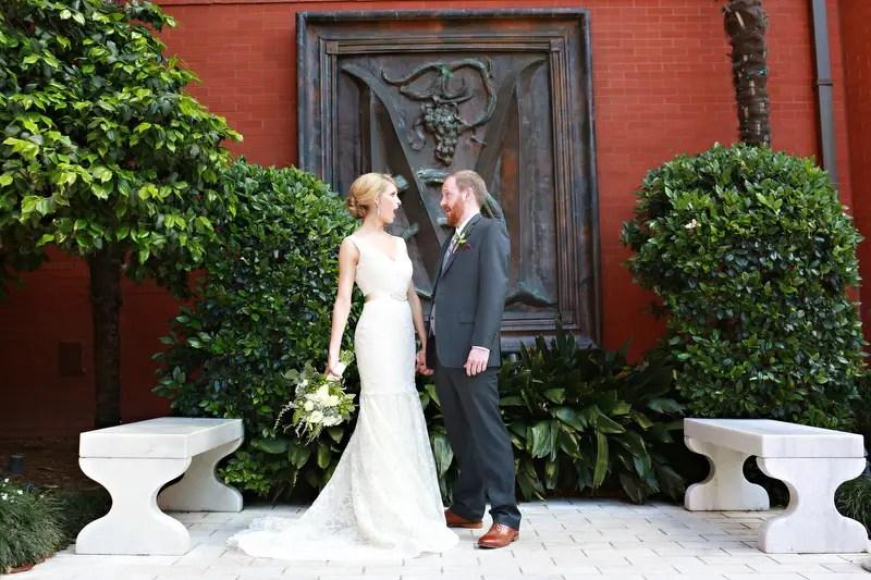The bride and groom | Photographer: Melissa Prosser Photography | via http://emmalinebride.com/real-weddings/colleen-ryans-lovely-savannah-wedding-at-the-mansion-on-forsyth-park