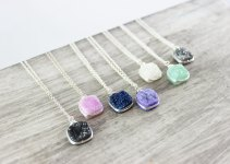 colorful druzy necklaces