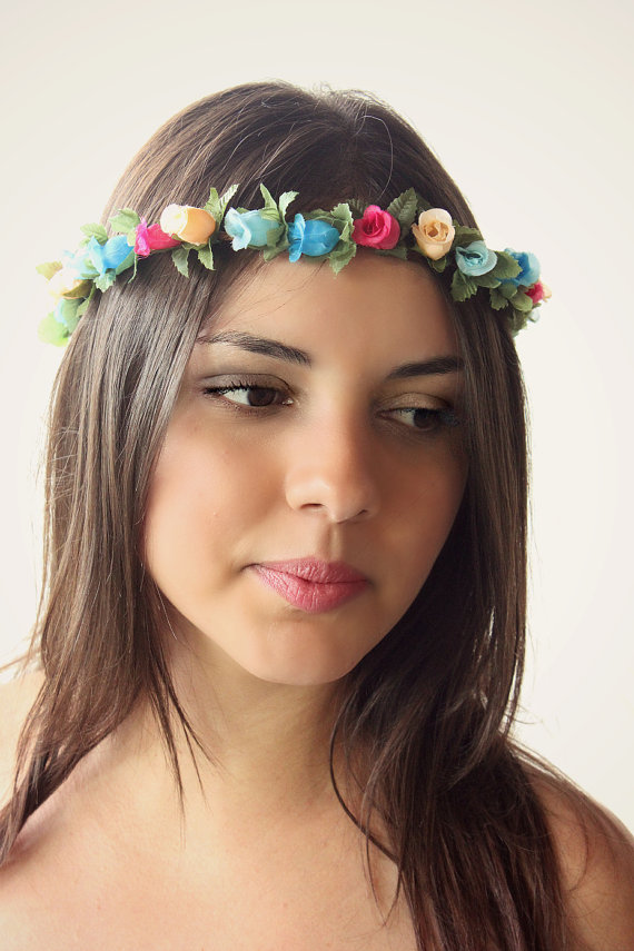 colorful flower hairpiece