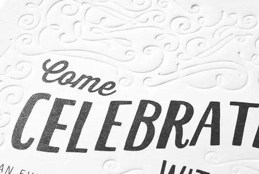 come celebrate with us letterpress invitations weddings