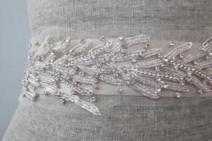Coral Motif Beach Wedding Dress Sash