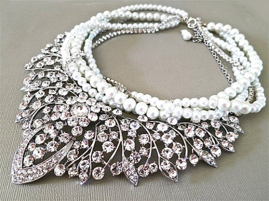 Pearl Statement Necklaces Bridal | via http://emmalinebride.com/bride/pearl-statement-necklaces-bridal/