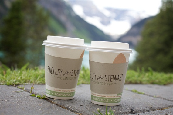 custom coffee sleeves wedding via 7 Things Every Wedding Coffee Bar Needs to Have
