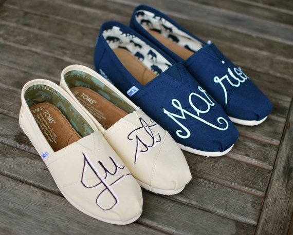 TOMS Wedding Shoes featuring 'Just' and 'Married'