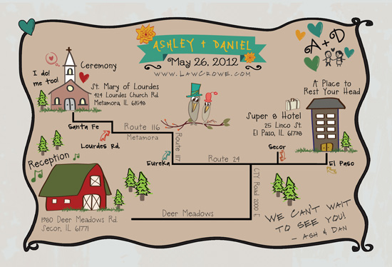 Custom Wedding Map (by MaKenzieNoelle Creative via EmmalineBride.com)