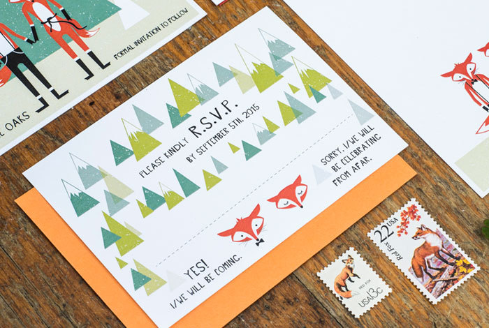 cute fox wedding invitations by 3eggsdesign | Fox Ideas Weddings via http://emmalinebride.com/rustic/fox-ideas-weddings/