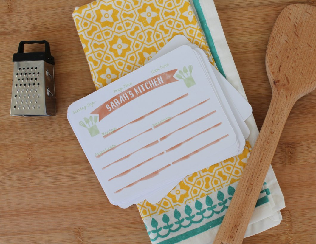 cute personalized watercolor recipe cards