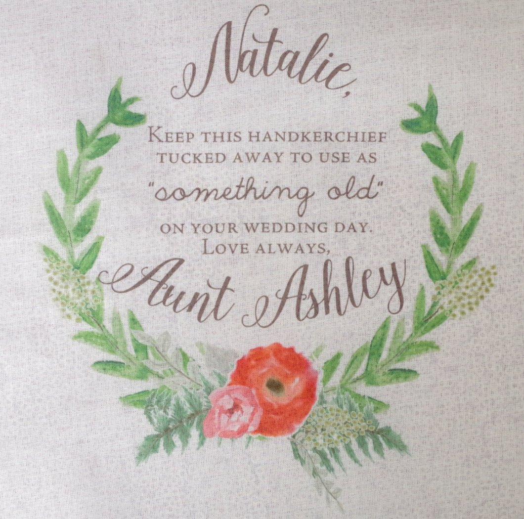 cute something old handkerchief | personalized wedding handkerchiefs | http://emmalinebride.com/gifts/personalized-wedding-handkerchiefs/