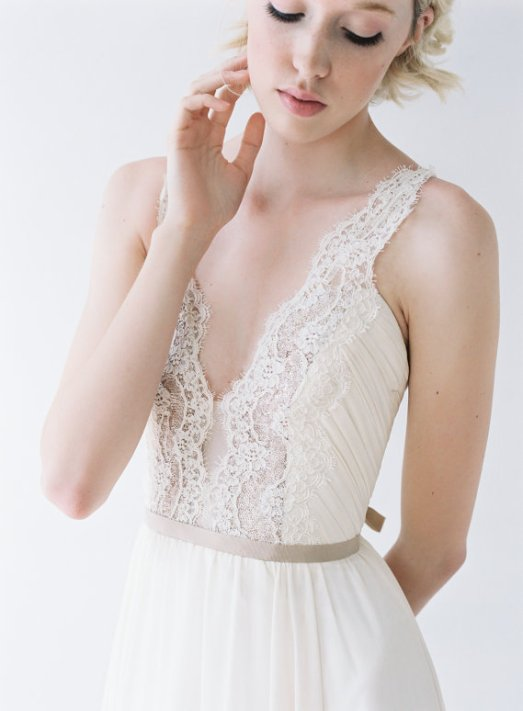 deep v lace wedding gown by Truvelle
