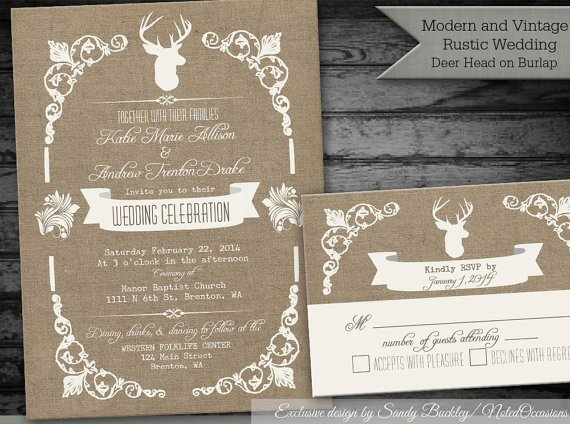 deer rustic printable wedding invitations
