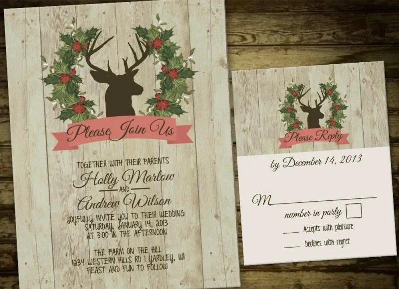 deer wreath winter wedding invitations