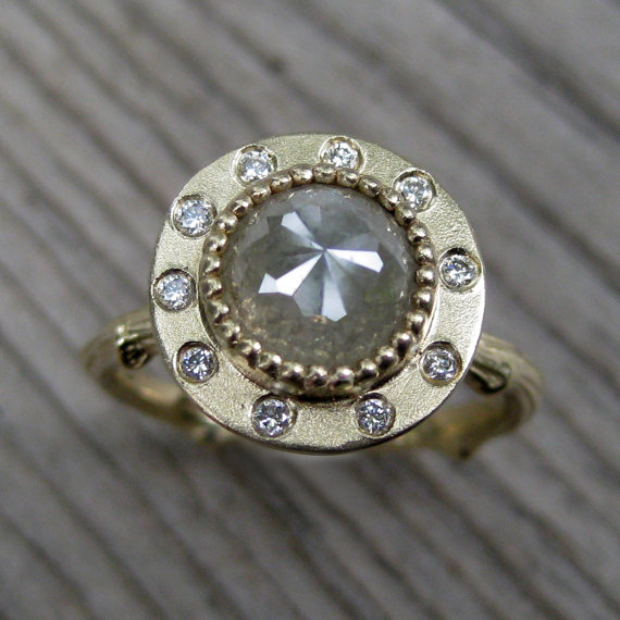 diamond halo twig engagement ring (via 7 Alternative Engagement Ring Ideas)