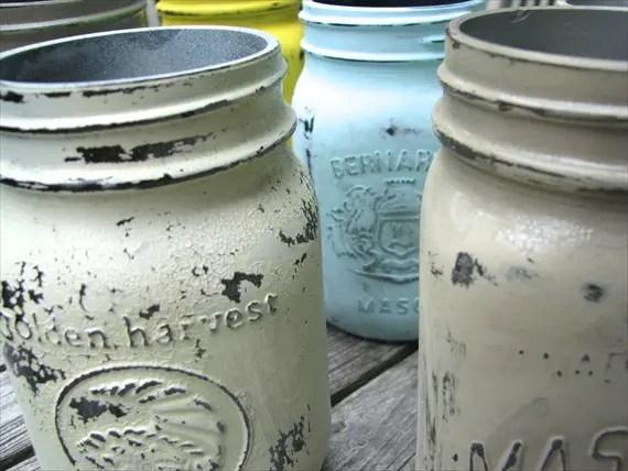 How to Make Mason Jars Look Old - distressed mason jars