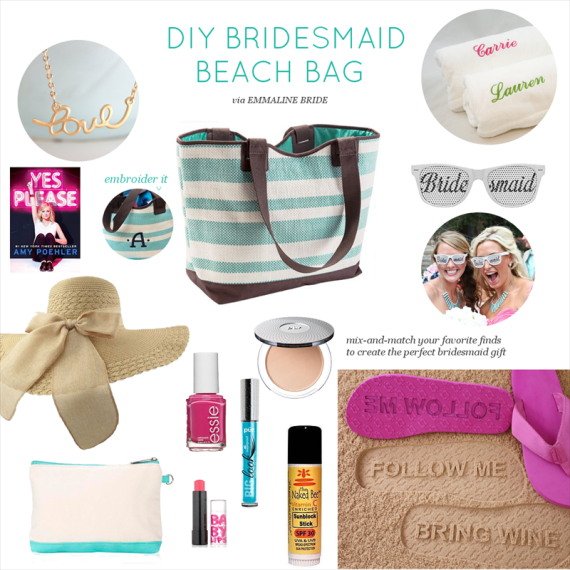 DIY Bridesmaid Beach Bag   via http://emmalinebride.com/bridesmaids/diy-bridesmaid-beach-bag/