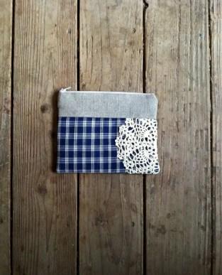navy blue doily clutch purse