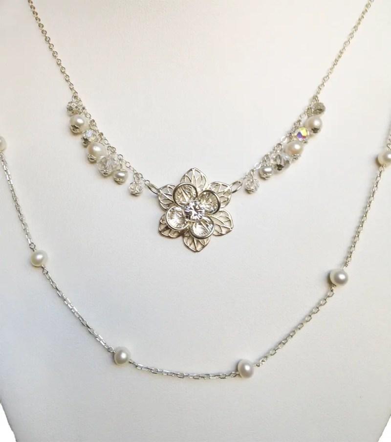 double strand wedding necklace