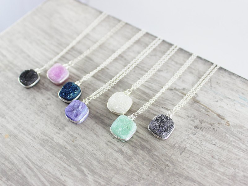 colorful druzy necklaces | http://emmalinebride.com/bridesmaid/colorful-druzy-necklaces/