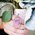 wedding bouquet charm embroidered with initial on front