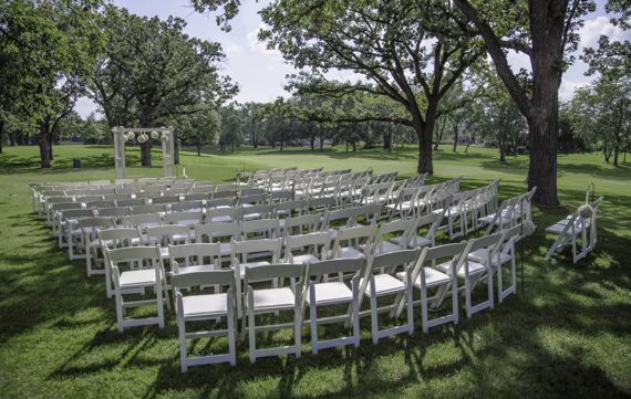 Rebecca Borg Photography - Elgin Country Club Wedding - outdoor ceremony chair setup
