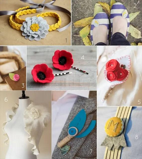 felt wedding accessories boutonnieres