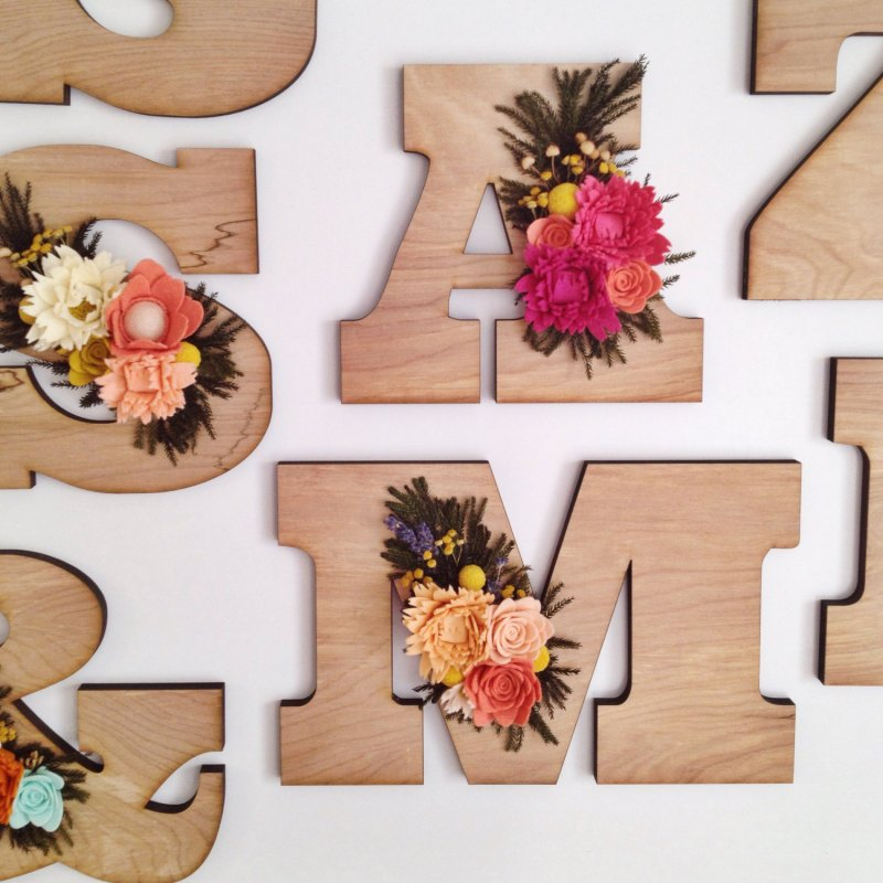 Wood Letter Wedding Decoration & Felt Flowers | http://emmalinebride.com/decor/wood-letter-wedding-decoration/