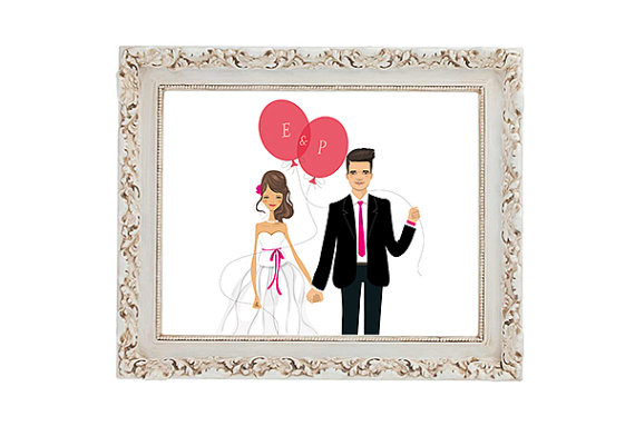 reusable wedding decorations - bride and groom illustrated print