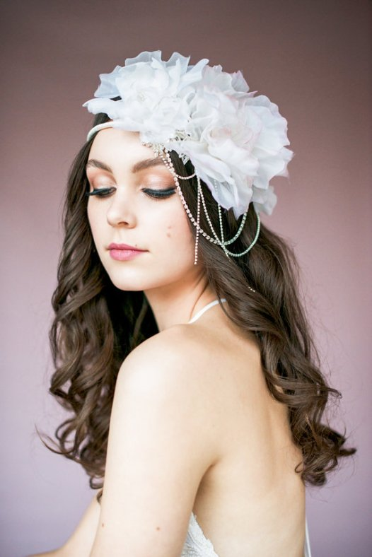 gatsby inspired floral crown | Bridal Headband With Veil via http://emmalinebride.com/bride/bridal-headband-with-veil/